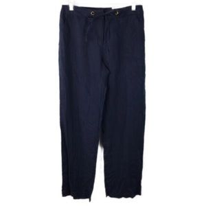 NWT Charter Club Navy Blue Drawstring Linen Pants